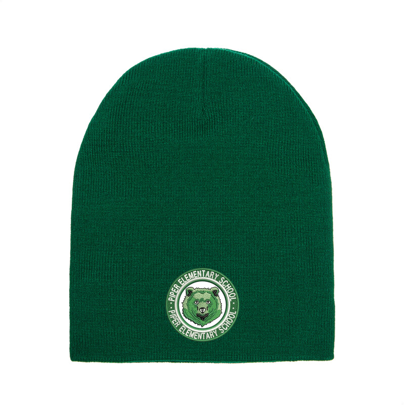 Piper Embroidered Adult Short Beanie (Forest Green)