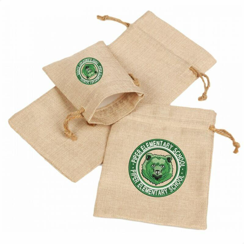 Piper Faux Burlap Drawstring Bag