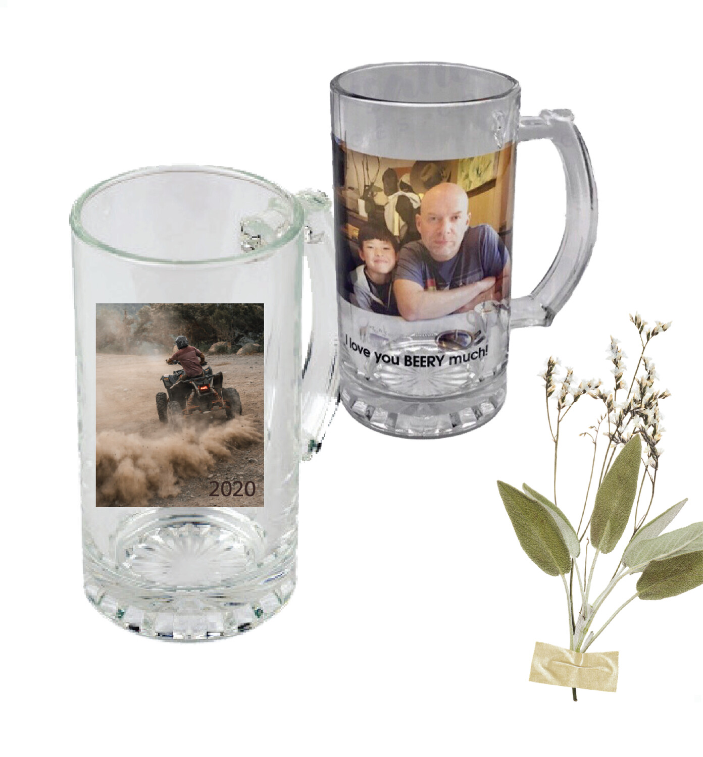 Personalized Photo Clear Glass Beer Mug 16oz