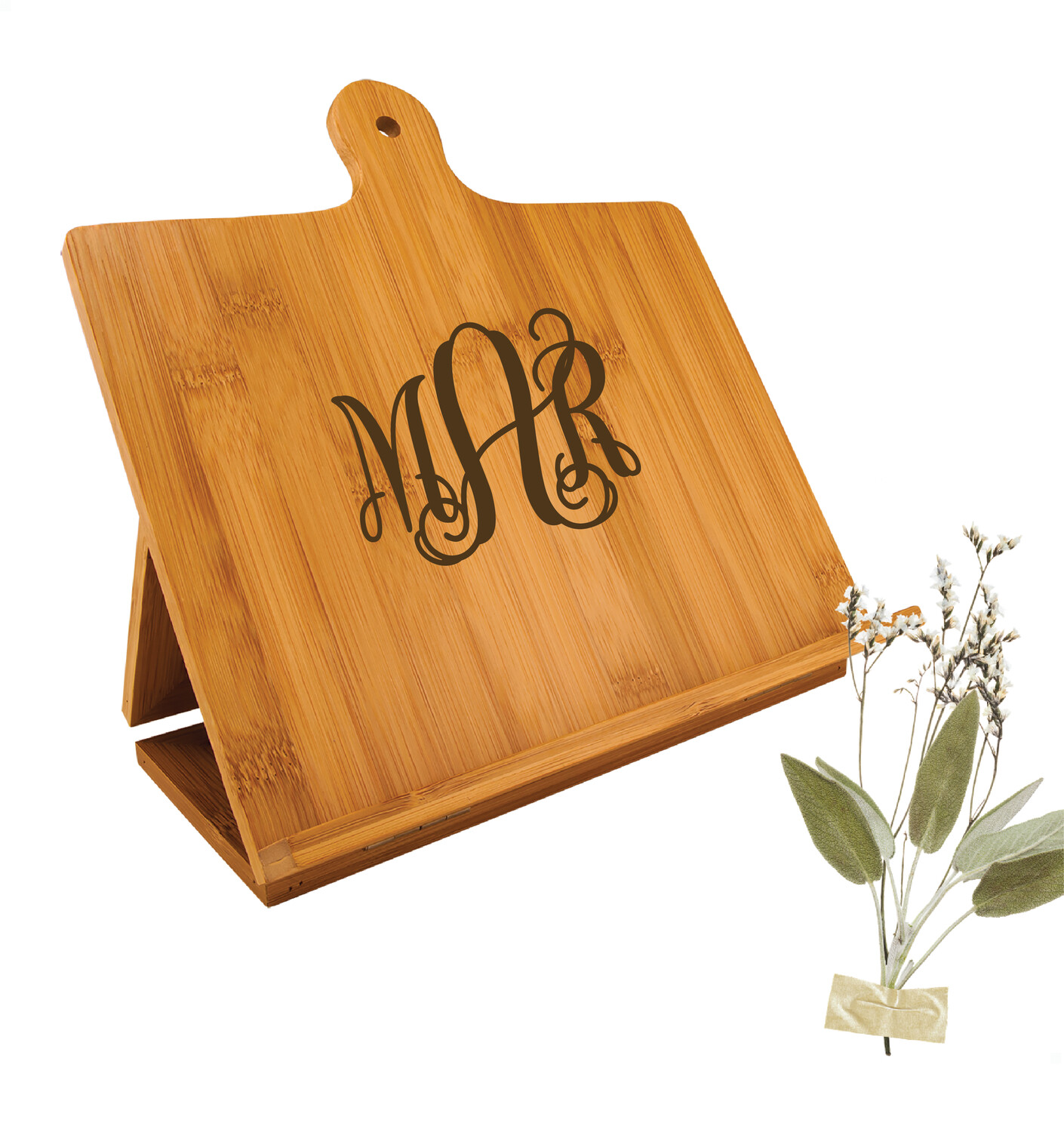 """Monogrammed Bamboo Chef's Easel Board (10-1/4"""" x 10-1/4"""")"""
