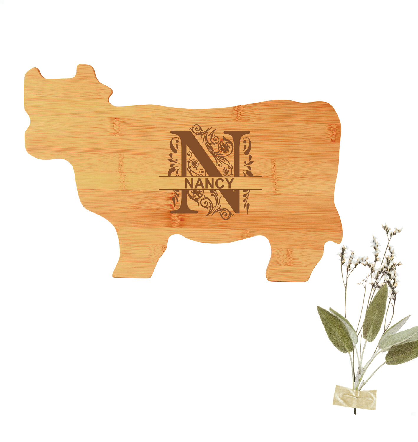 "Monogrammed Cow-shaped Cutting Board (14-3/4"")"