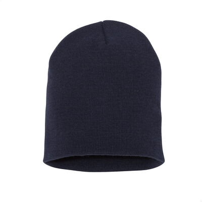 Custom Embroidered Adult Short Beanie (Navy Blue)