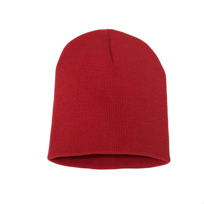 Custom Embroidered Adult Short Beanie (Red)