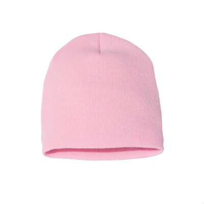 Custom Embroidered Adult Short Beanie (Pink)