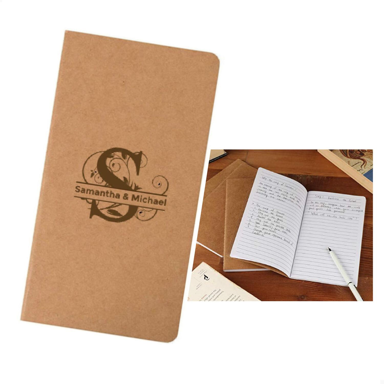 Custom Monogrammed Kraft Paper Notebooks, Blank Lined Journal (4 x 8)