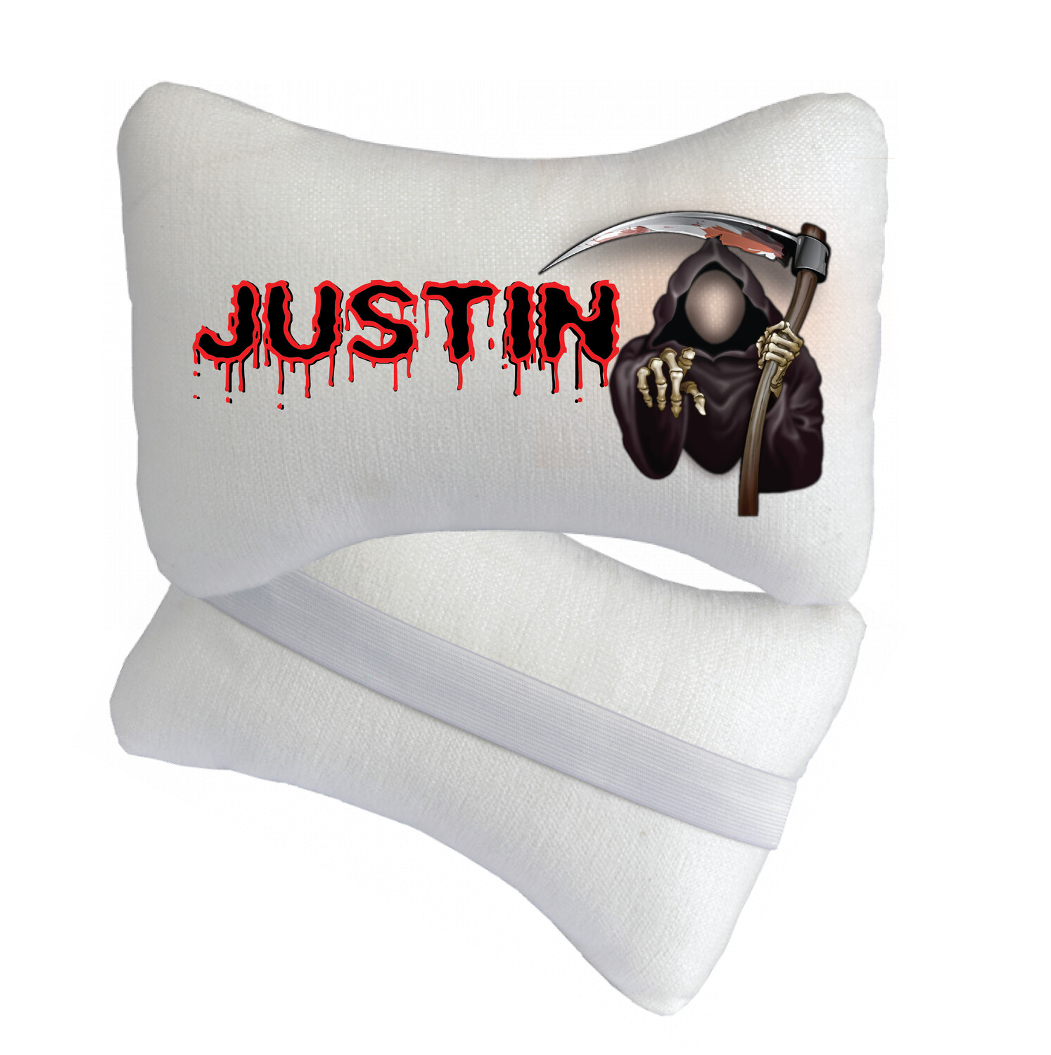 """GRIM REAPER   PERSONALIZED   TRAVEL PILLOW   12.20"""" x 7.87"""""""