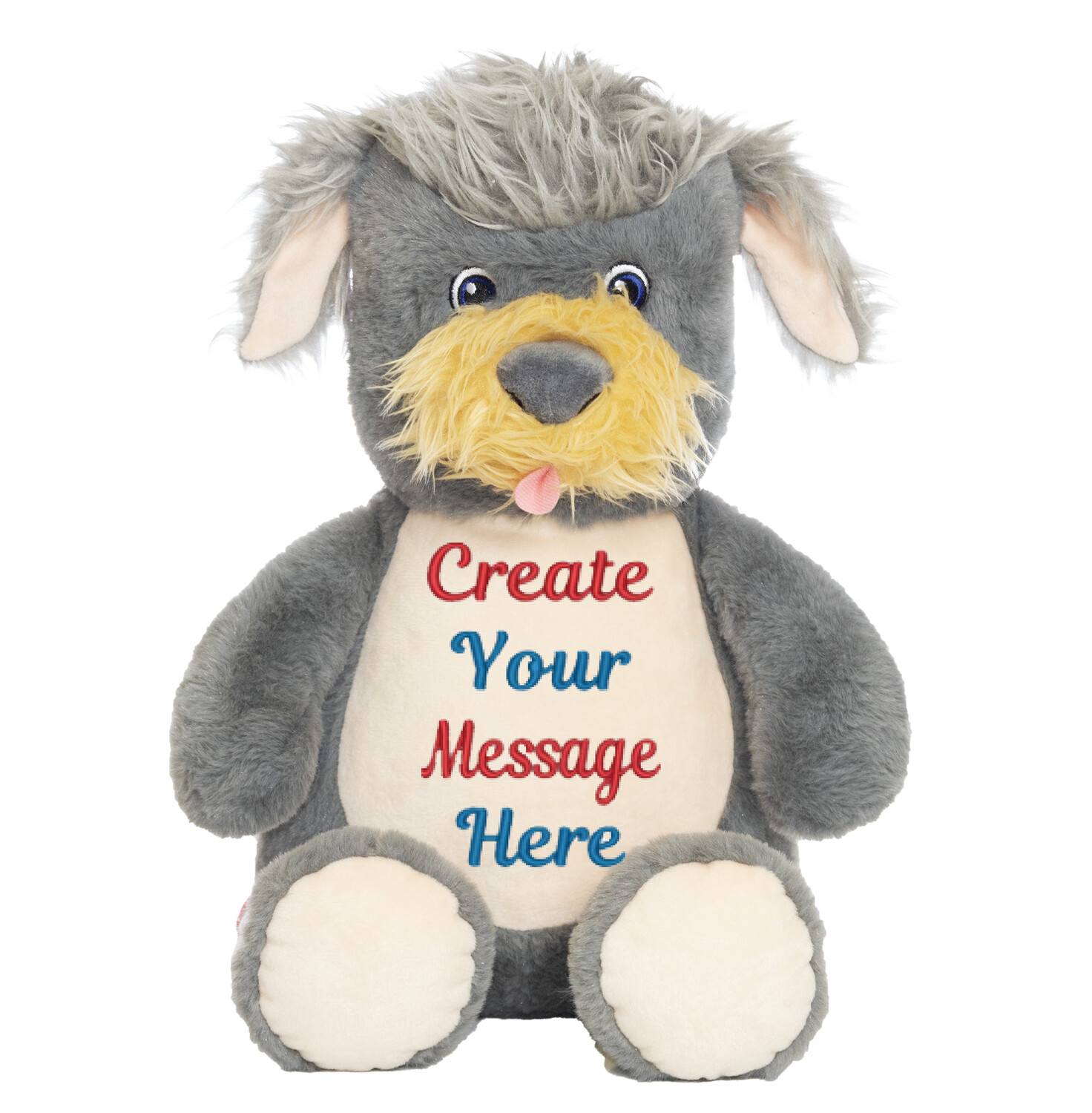 """SHAGGY TERRIER DOG   PERSONALIZED   EMBROIDERED CUBBY STUFFED ANIMAL   13"""""""