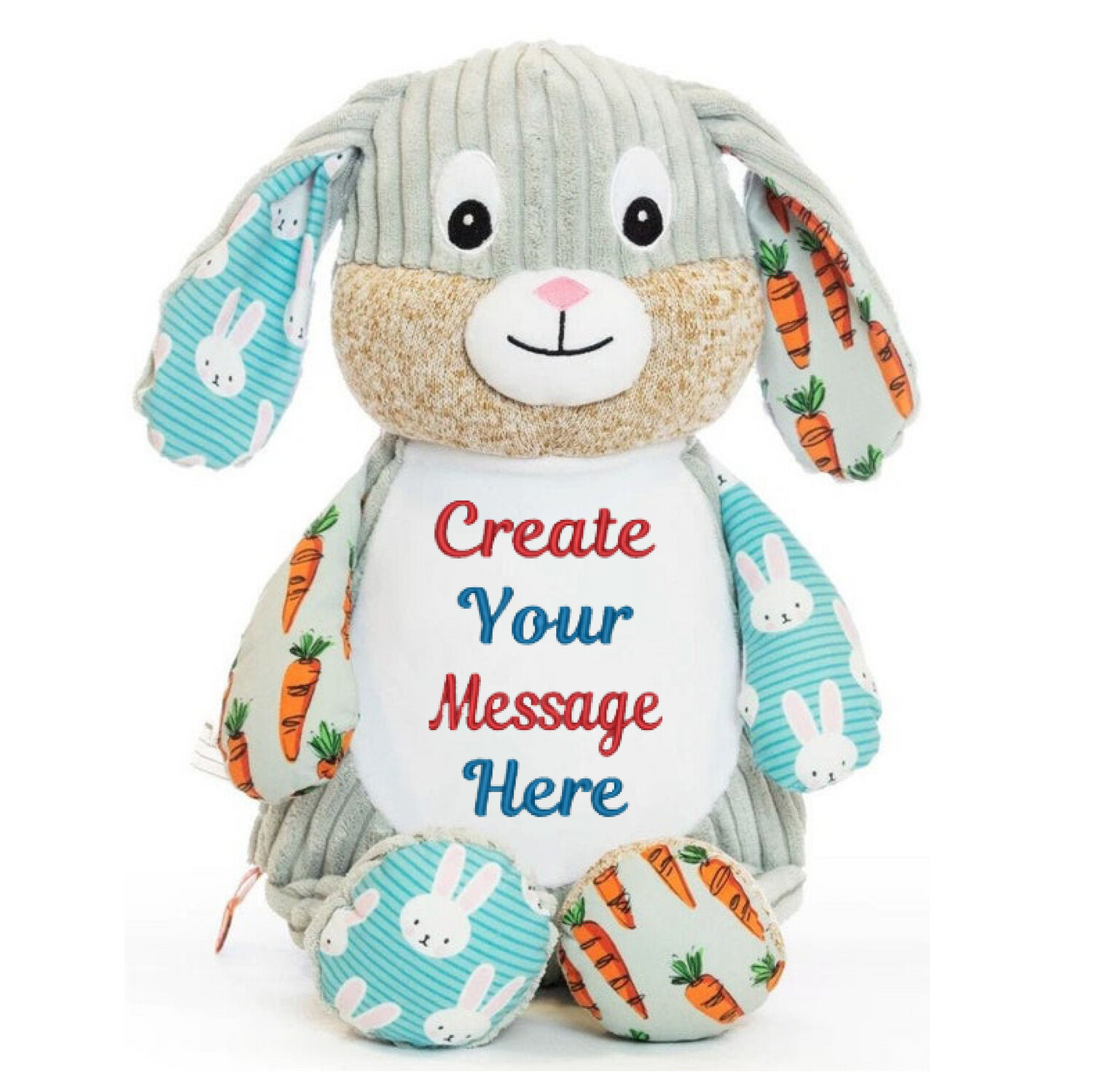 """HARLEQUIN CARROT BUNNY   PERSONALIZED   EMBROIDERED CUBBY STUFFED ANIMAL   13"""""""
