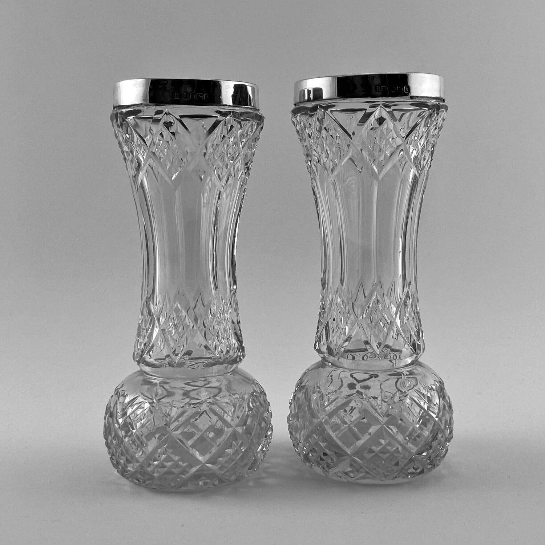 """Пара хрустальных вазочек с серебром """"Близнецы"""""""