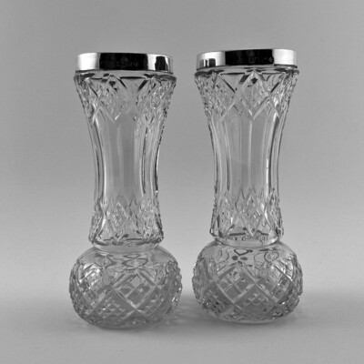 Пара хрустальных вазочек с серебром