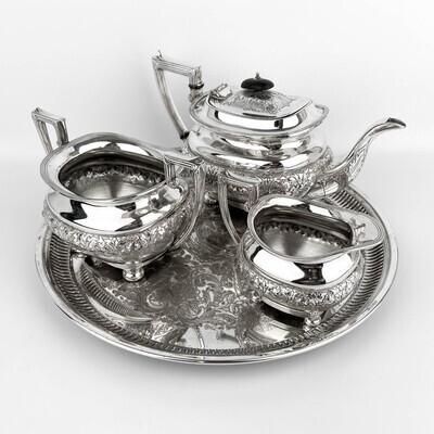 Чайный набор Lee & Wigfull Ltd. Англия, серебрение, 1872-1968 гг.