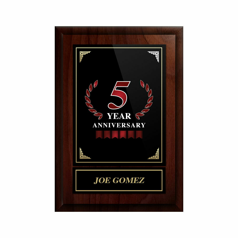 5 Year Anniversary Plaque