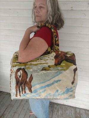 Hermans Tapestry Bag Suitcase made in USA Deer