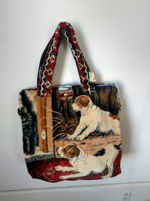 Hermans Carpet bag people dogs hinged made in USA