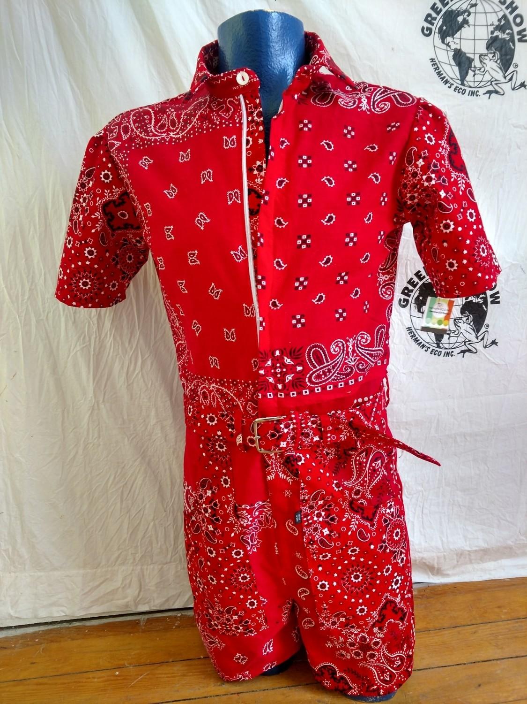 Red bandana mens Romper Jumpsuit S