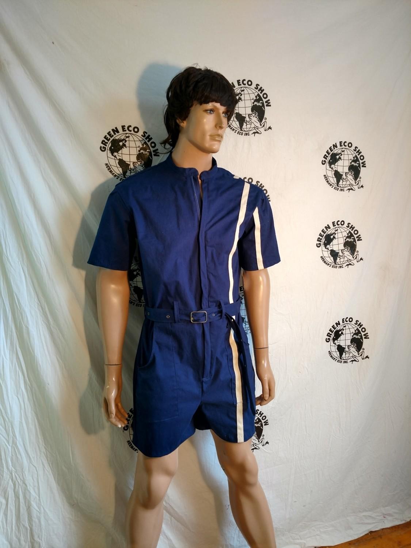 Mens Romper  XL Hermans Blue with sewn  stripe USA