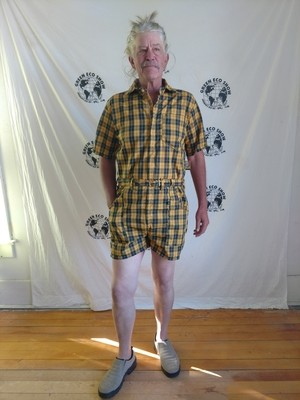mens Rompers L plaid Yellow Black check  Hermans USA