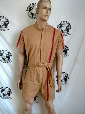 Mens Romper M - L Race stripe Tan Cotton Hermans  USA