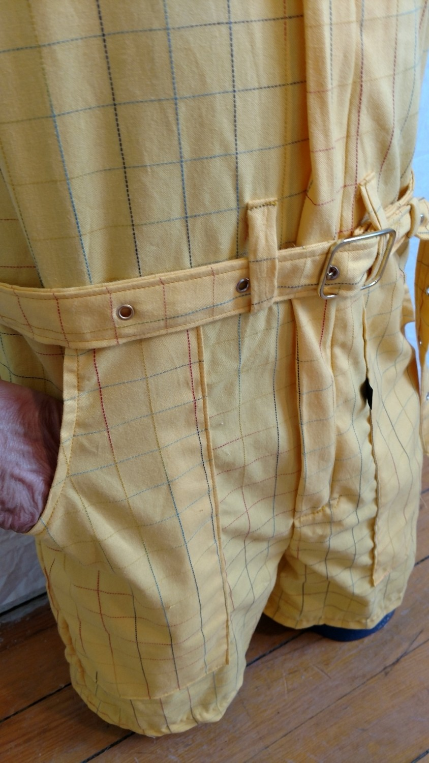 Mens Romper S  Yellow Check Plaid Hermans  USA
