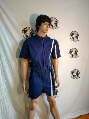 Mens Romper Blue L sewn on Stripe Herman  USA