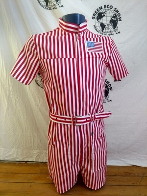 Mens Romper  Red Striped S Hermans  USA Flag Patch