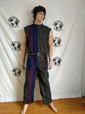 Mens Jumpsuit XL X 29  Striped VTG fabric Sleeveless made in USA
