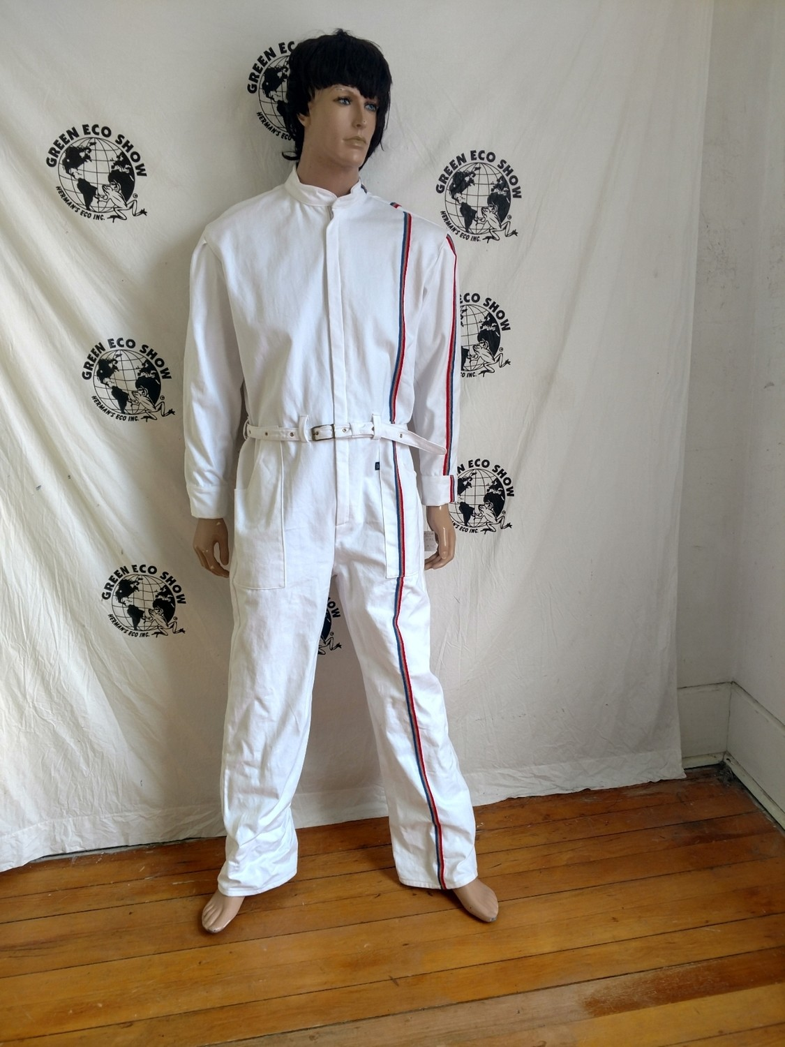 Mens Jumpsuit XL White Stripe Hermans Eco USA Red White Blue