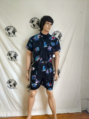 Mens Romper Blk Flower  VTG Cotton XL Hermans USA