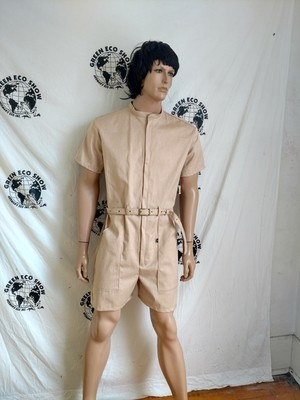 Mens Romper Natural colored Organic cotton from Peru  M-L
