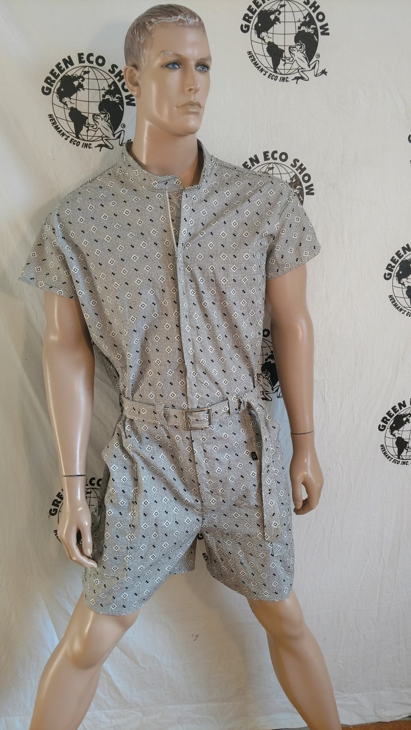 Mens Romper Blk Check XL Hermans USA