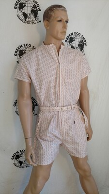 Mens Romper red white vine stripe XL Hermans USA