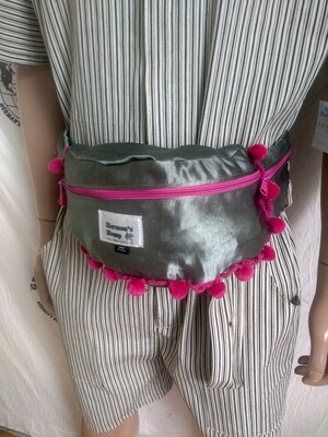 Fanny Pack Hemp Silk Pom Pom Hermans Hemp Green pink USA Hand dyed
