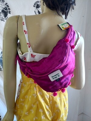Hermans Hemp silk Fanny Pack  purple pink pom poms USA