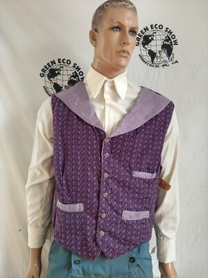 Mens Vest Steampunk XL Hermans USA Purple Gaucho print