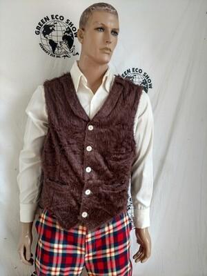 Mens Vest Steampunk XL Hermans USA Faux fur Brown