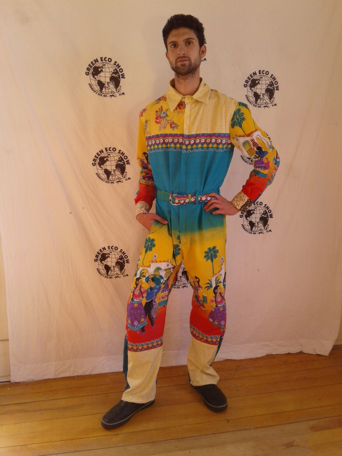 Mexican People Jumpsuit L romper Hermans made in USA