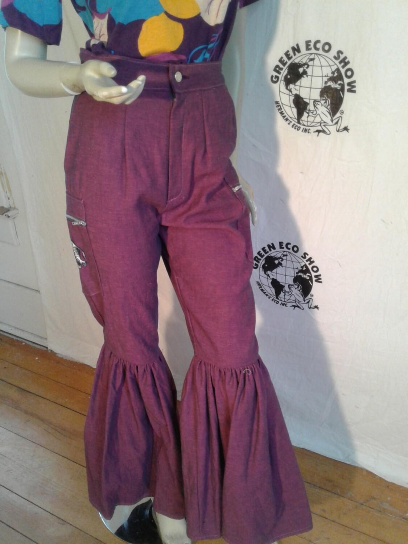 Womens vtg denim purple bell bottom pants Anna Herman