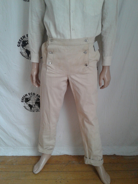 Mens Steampunk pants US grown natural dyed organic cotton 32 x 32
