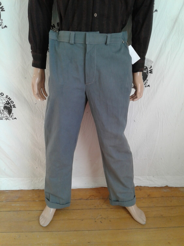 Mens organic cotton gray pants 38 grown in Usa