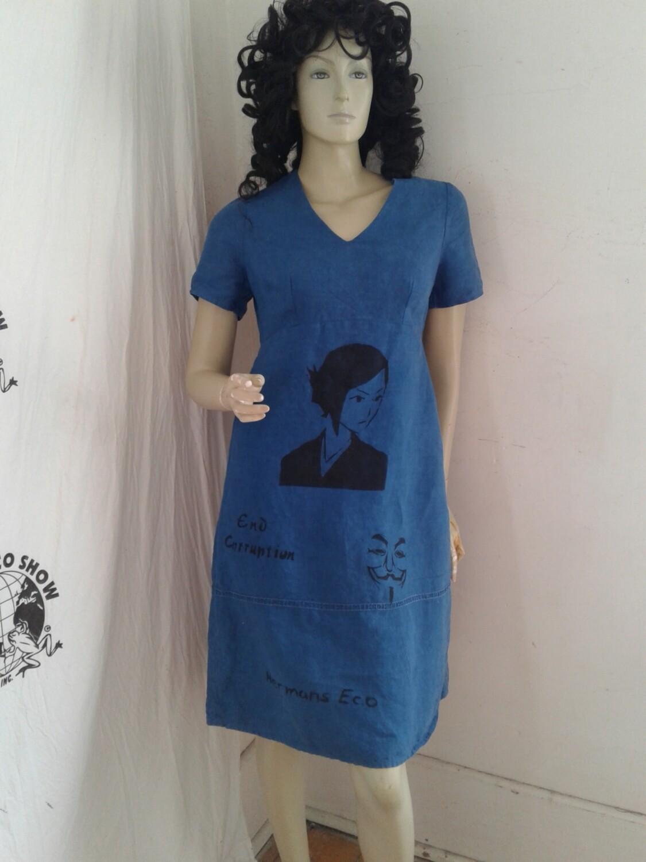 Hermans Hemp airbrushed Grafitti dress blue Small Statute of Liberty