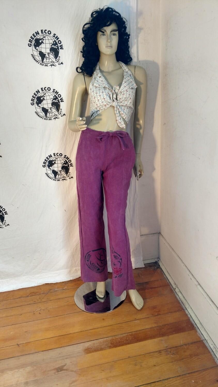 Hermans Hemp airbrushed drawstring pants S,X 32 airbrushed Japanese print