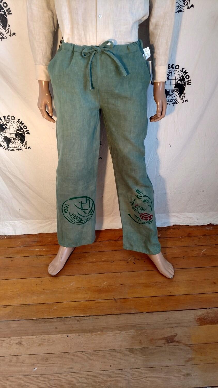 Hermans Hemp green drawstring pants M  airbrushed