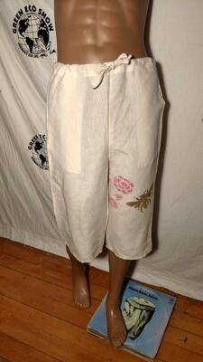 Hermans Hemp airbrushed bee drawstring shorts pants