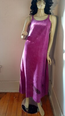 Hermans Hemp tie back dress M Endangered Species Purple