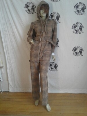 Plaid wool womens jumpsuit Hoodie skiing M Hermans
