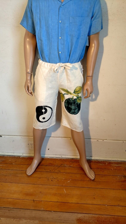 Hermans Hemp M yoga shorts airbrushed