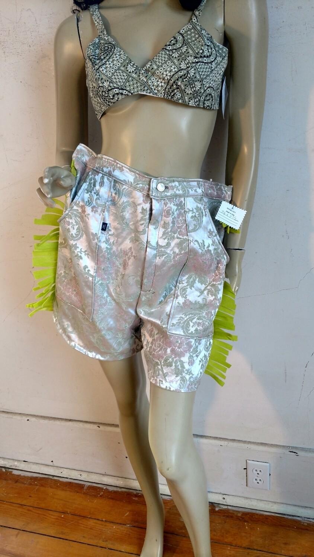 Brocade  womens shorts  L 34 fringed