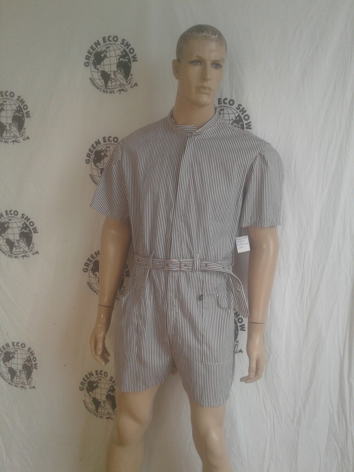Mens Rompers jumpsuit shorts striped large Hermans Eco