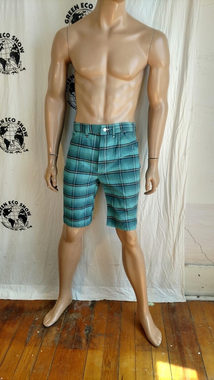 Mens plaid vtg denim shorts 32