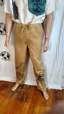 Mens organic cotton US grown drawstring pants S to M